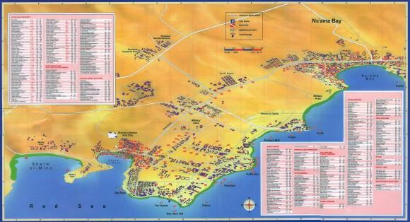 Карта отелей на побережье  Шарм-эль-Шейха