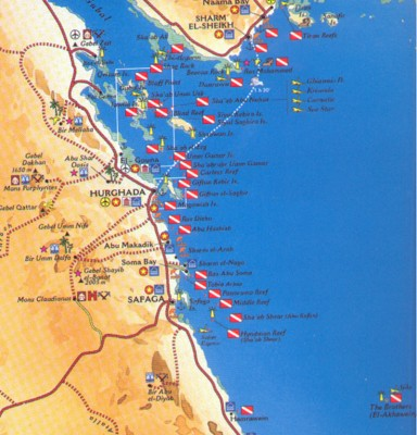 Карта коралловых рифов Египта