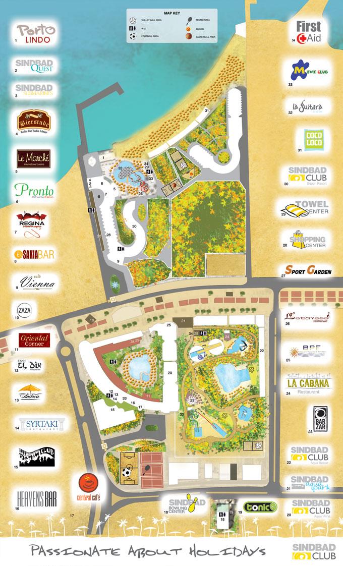 Схема отеля и аквапарка