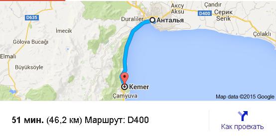 расстояние от города Анталии до Кемера