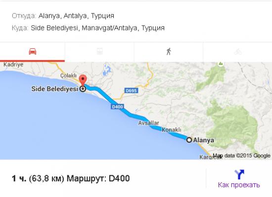 От Алании до Сиде почти 64 километра