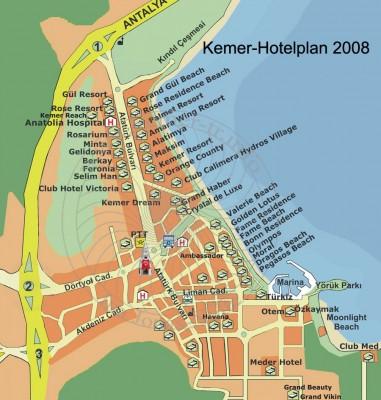 карта кемера с отелями