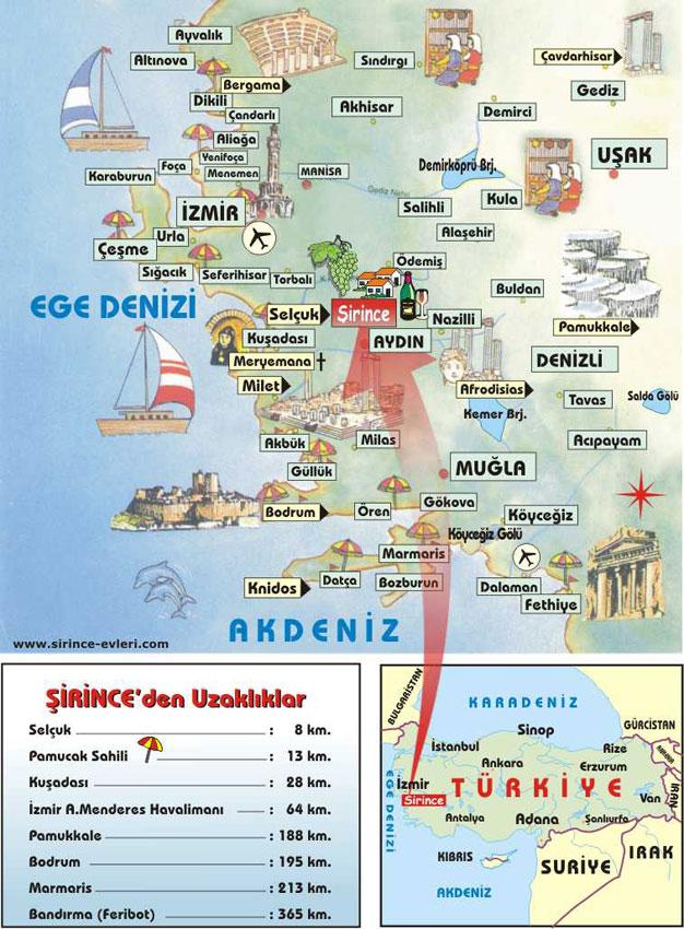карта региона кушадасы с достопримечательностями 2