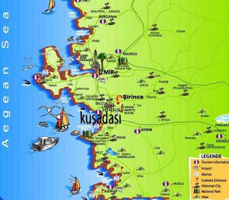 карта региона кушадасы с достопримечательностями